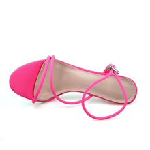 Load image into Gallery viewer, 2020 Summer New Ankle Strap Cross-Tied Women Sandals 11.5Cm High Heels Sexy Grain Lace-Up Sandals High Quality Shoes Pink