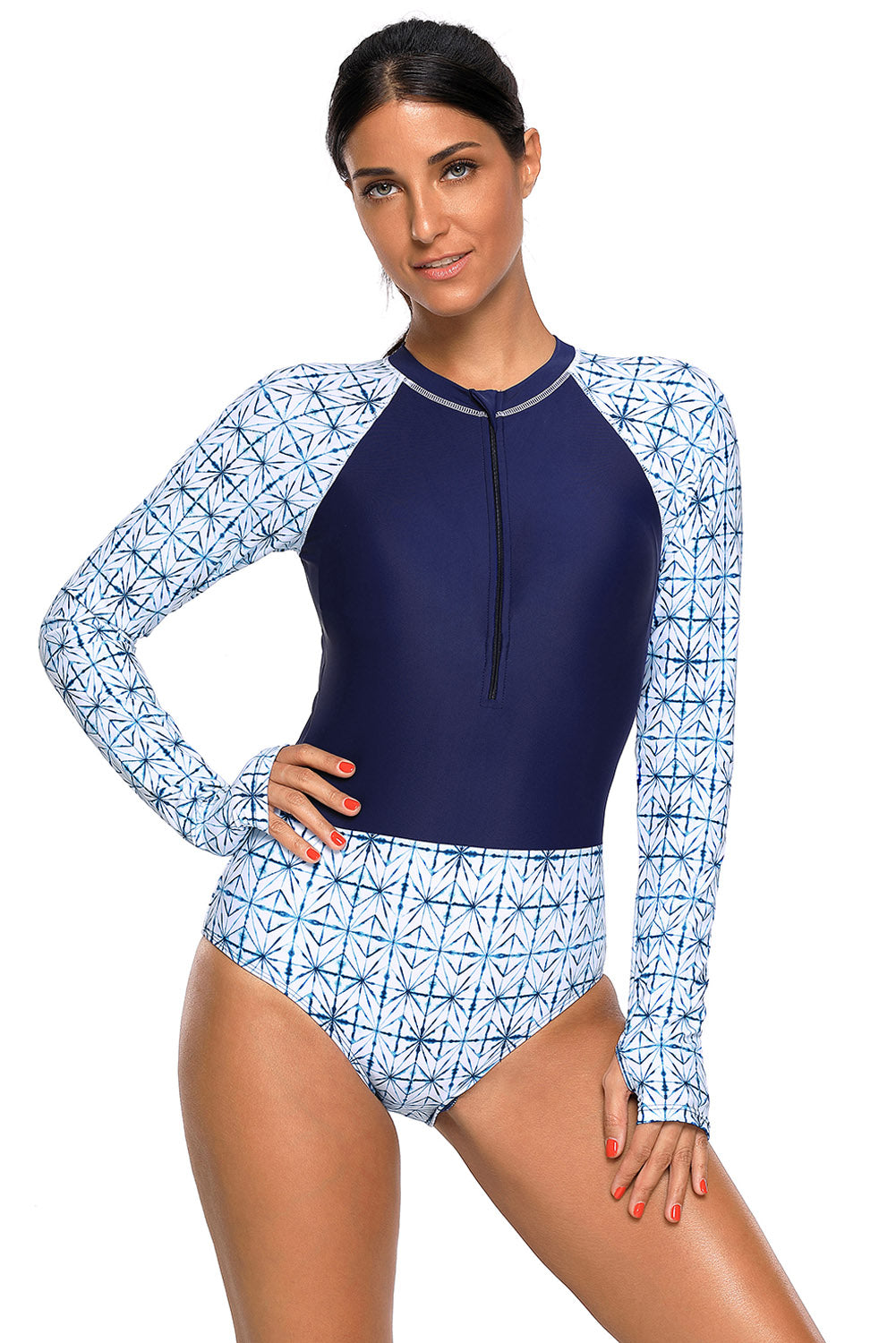Chic Print Zip High Neck Long Sleeve Rashguard Swimsuit