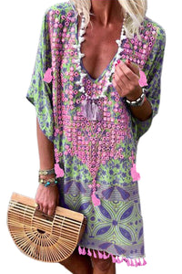 Multicolor Floral Tassel Printed Casual Summer Dress