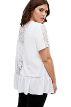 Load image into Gallery viewer, White Plus Size Smock Top with Lace Insert