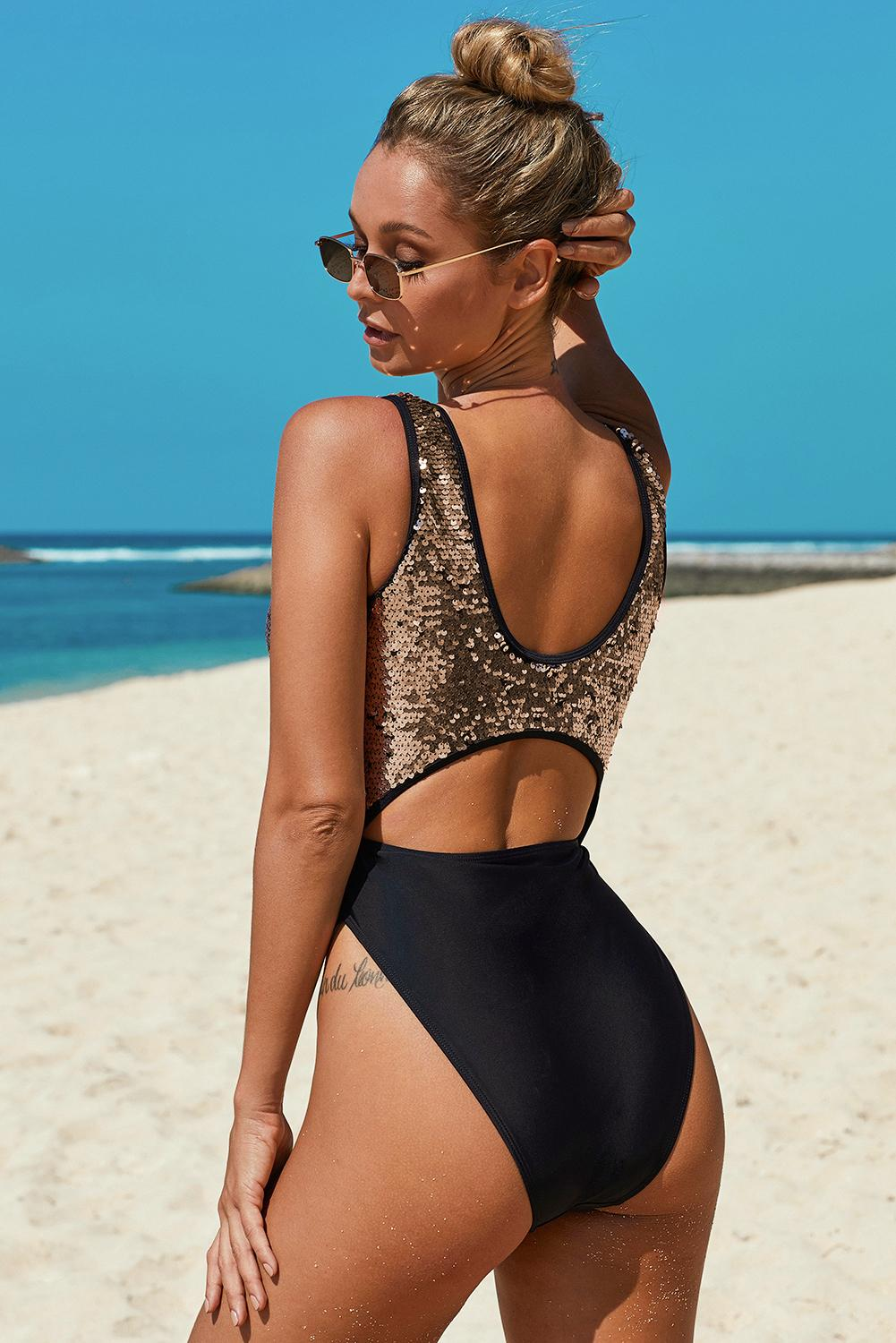 Gold Sequin Cutout Sparkling Maillot Swimsuit
