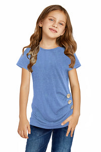 Sky Blue Side Button Detail Short Sleeve T Shirt for Little Girls