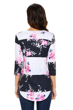 Load image into Gallery viewer, Charcoal White Bold Stripe Pink Floral Shirt