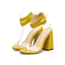 Load image into Gallery viewer, 2020 Mature Pu Solid Sandals Women Buckle Thick High Heel Stone Pattern Cover Heel Peep Toe Wedding Daily Party Shoes Yellow