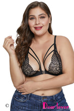 Load image into Gallery viewer, Black Floral Plus Size Bralette