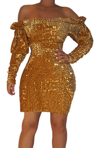 Gold Sequin Off Shoulder Club Dress