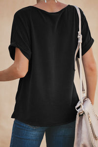 Black Plain Crew Neck Short Sleeve Twist Tee