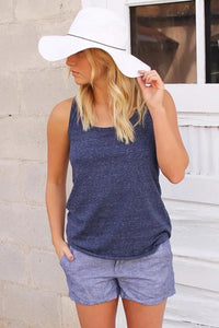 Blue Hollow-out Y Back Jersey Tank