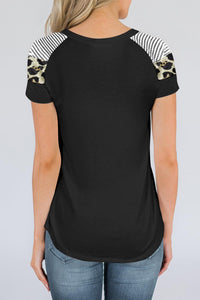 Black Striped Leopard Print Short Sleeve Women T-shirt