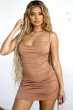 Load image into Gallery viewer, Khaki Scooped Cowl Neckline Draped Mini Dress