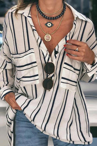 White Striped Buttoned Down Blouse