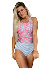 Load image into Gallery viewer, Pink Printed Zipped Racerback Maillot