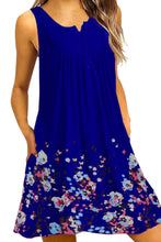 Load image into Gallery viewer, Blue Crew Neck A-Line Daily Beach Floral Dress