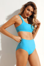 Load image into Gallery viewer, Solid Blue Sport Bikini 2pcs High Waist Swimsuit