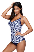 Load image into Gallery viewer, Navy White Leafy Print 2pcs Tankini Swimsuit