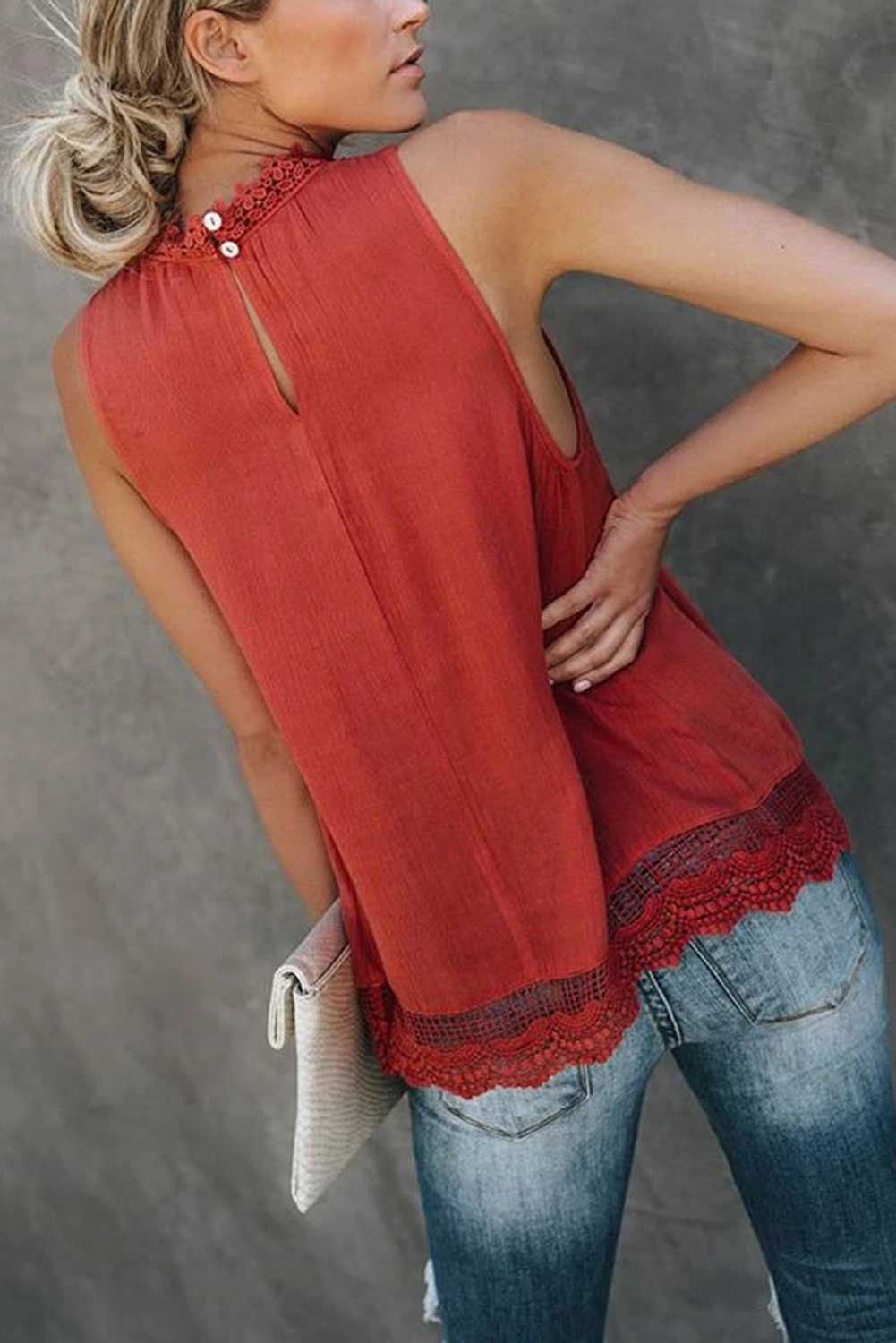 Red Crochet Lace Sleeveless Crew Neck Tank