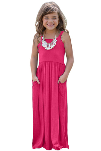 Rose Girls Suspender Pocket Dress