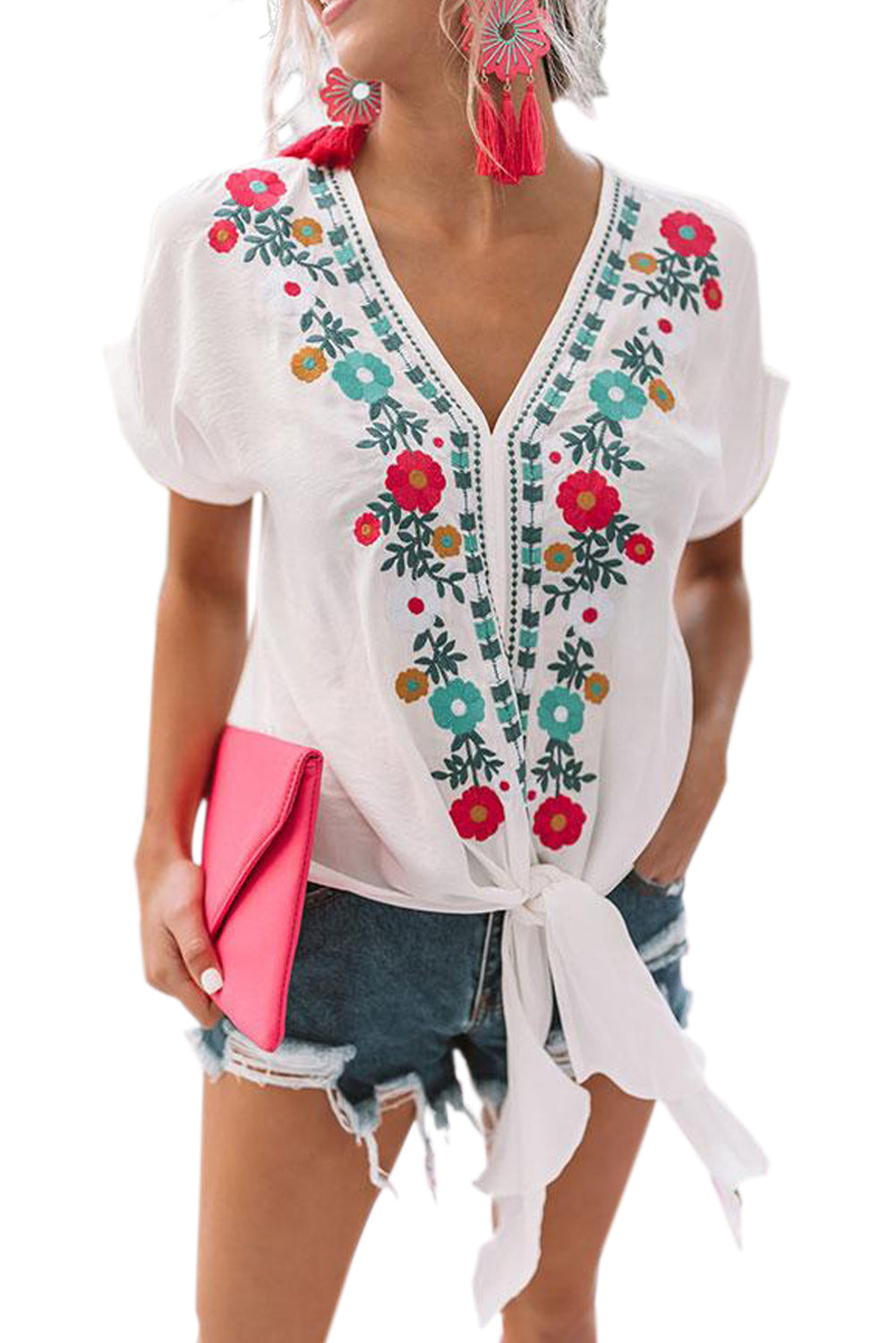 White Floral Printed Tie Top