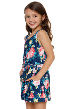 Load image into Gallery viewer, Blue Floral Romper for Little Girls