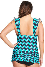 Load image into Gallery viewer, Green Plus Size Grecian Skater Ruched One Piece Swimdress