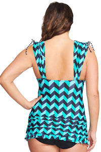 Green Plus Size Grecian Skater Ruched One Piece Swimdress