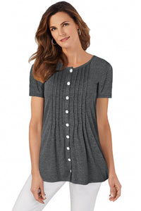 Gray Button Up Crinkle Chest T Shirt