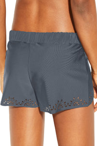 Gray Laser Cut Swim Shorts