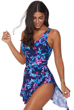 Load image into Gallery viewer, Blue Flower Print Swimdress