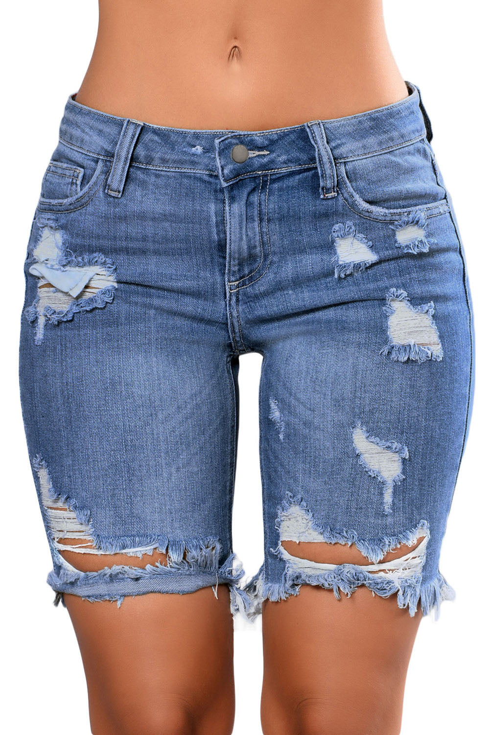 Light Blue Denim Ripped Hole Distressed Shorts