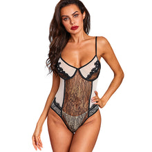 Load image into Gallery viewer, Alluring Appliqued Mesh Lace Lingerie Bodysuit