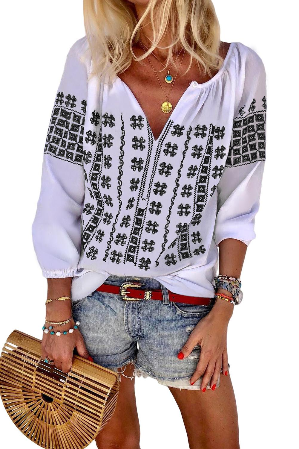 Black Ethnic Embroidery V Cut Neck 3/4 Sleeve Top