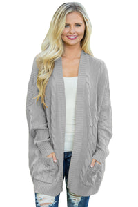 Gray Knit Texture Long Cardigan