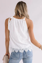 Load image into Gallery viewer, White Drawstring Neck Lace Patch Tank