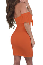 Load image into Gallery viewer, Orange Flared Short Sleeves Tie Front Bodycon Dress