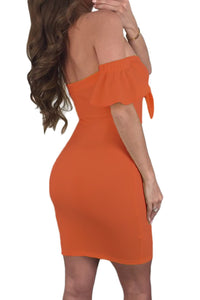 Orange Flared Short Sleeves Tie Front Bodycon Dress