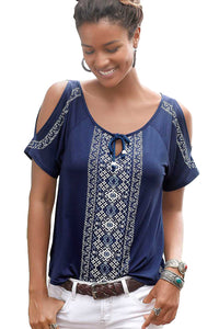Blue Cold Shoulder Printed Top