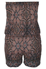 Load image into Gallery viewer, Brown Strapless Floral Print Romper Overall