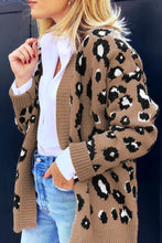 Load image into Gallery viewer, Brown Long Sleeves Leopard Print Knitting Cardigan