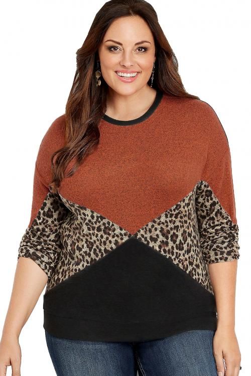 Orange Plus Size Animal Print Splice Long Sleeve Pullover Sweatshirt
