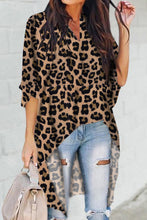 Load image into Gallery viewer, Brown V-Collar Irregular Leopard Print Blouse