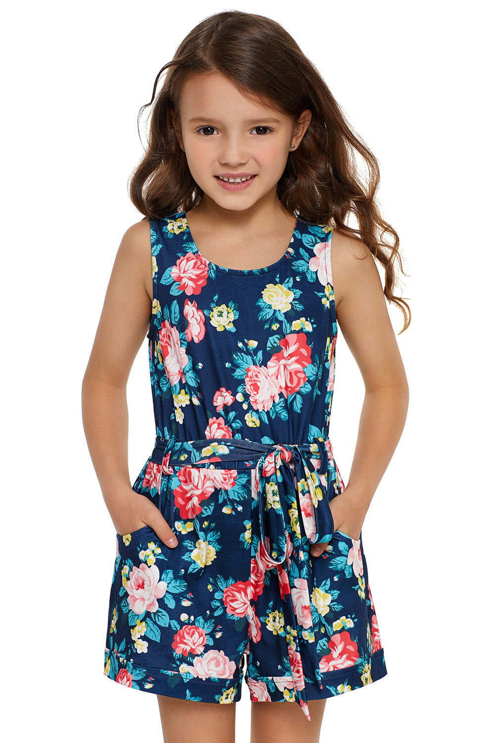 Blue Floral Romper for Little Girls