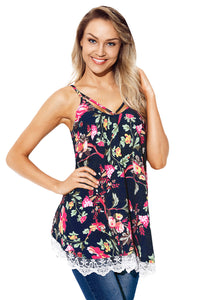 Lace Hem Navy Floral Strappy Cami Top