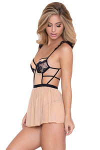 Nude Black Eyelash Lace Trim Babydoll with Thong