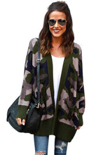 Load image into Gallery viewer, Attention Cotton Camo Pocketed Cardigan