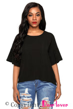 Load image into Gallery viewer, Black Short Bell Sleeves Sheer Chiffon Blouse