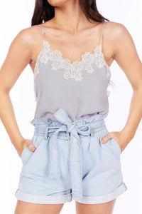 Gray Lace Detail Cami