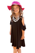 Load image into Gallery viewer, Black Ruffle Cold Shoulder Dress for Little Girls