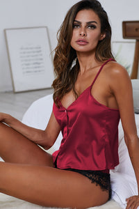 Red Elegant Satin Pajama Set
