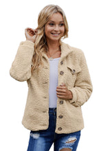 Load image into Gallery viewer, Khaki Sherpa Button Up Long Sleeve Jacket