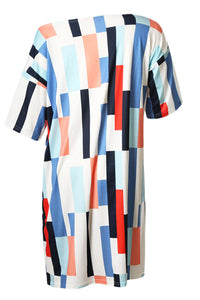 Blue Geometric Pattern Loose T-shirt Dress
